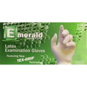 Latex Tex Grip Powder Free Exam Gloves Emerald